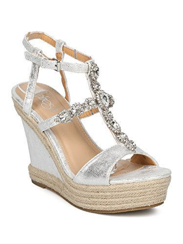 Metallic Embellished (Women Espadrille Platform Wedge Sandal - Rhinestone Embellished Heel - Dressy Summer Versatile - HD39 by Refresh Collection - Silver Metallic (Size: 9.0))
