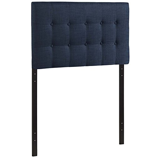 Modway Emily Tufted Button Linen Fabric Upholstered Twin Headboard in Navy
