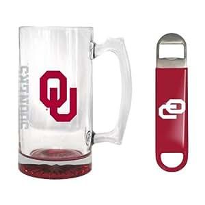 NCAA Oklahoma - Elite Tankard & Bottle Opener Set | OU Sooners 25 oz. Beer Mug Gift Set