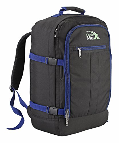 Cabin Max Backpack Flight Approved Carry On Bag Massive 44 litre Travel Hand  Luggage 55x40x20 cm (Black Navy) 05db97ad19dda