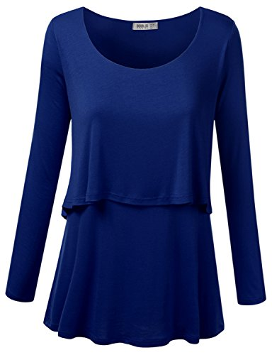 SJSP Womens Boat Neck Asymmetric Round Neck 2-in-12 Stand Collar Tunic Top,X-Large,XL