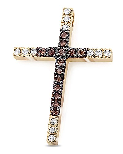 0.86 Ct Brown & White Real Diamond Cross Pendant Necklace14K Solid (White Gold Diamond Butterfly Pin)