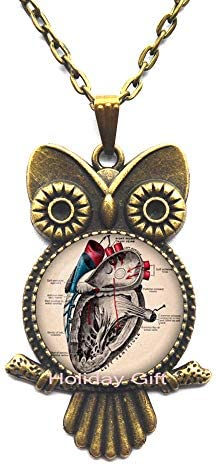 Anatomical Heart Lobster Clasp.Anatomical Heart Owl Zipper Pull.Anatomical Heart Jewelry.Birthday Gift.HTY-387