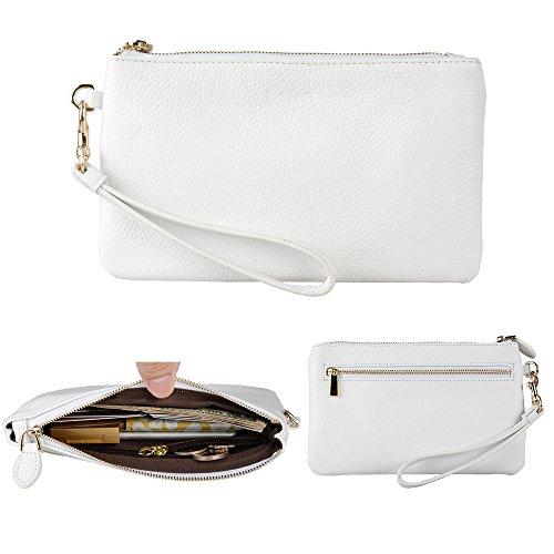 Befen Women Genuine Leather Clutch Wristlet Wallet, Smartphone Wristlet Wallet Purse - White