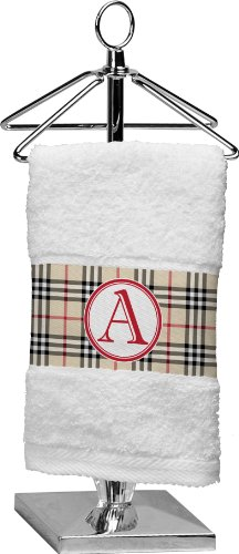 Red & Tan Plaid Personalized Finger Tip Towel