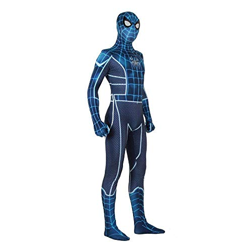PIAOL Blue Spiderman Costume Cosplay Adult Fear Jersey Siamese Pantyhose Halloween Lycra Spandex Movie Props,Men-M