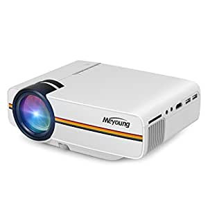 Meyoung TC80 Video Projector Support 1080P for TV Home Cinema Theater,LCD HDMI Mini Portable Projector for Outdoor Indoor Movie Night, DVD Player, Laptop, Games 1200 Luminous Efficiency (White)