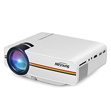 Meyoung TC80 Video Projector Support 1080P 1200 Luminous Efficiency for TV Home Cinema Theater,LED HDMI Mini Portable Projector for Outdoor Indoor Movie Night, DVD Player, Laptop, Games (White)