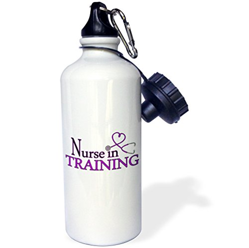 3dRose Nurse in Training Purple Heart Stethoscope-Sports Water Bottle, 21oz (wb_181844_1), Multicolored