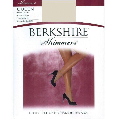Berkshire Women's Berkshire Queen Shimmers Ultra Sheer Control Top Pantyhose 255 Silver 3X4 3-pack