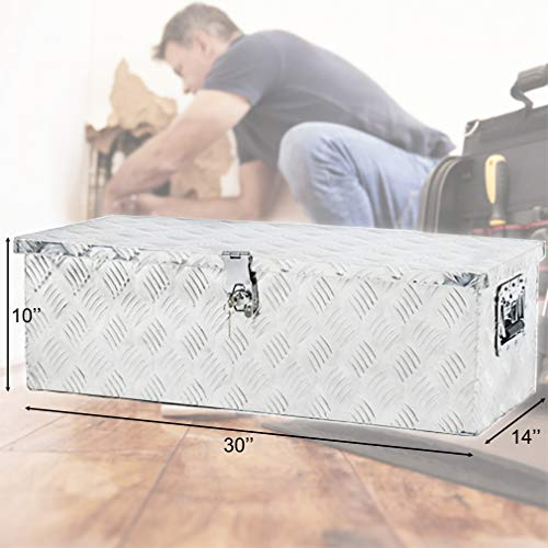 Truck Tool Box Aluminum Tool Box Camper Tool Box W/Handle and Lock for Pickup Truck/Trailer 30'' Silver by BestMassage (Image #6)