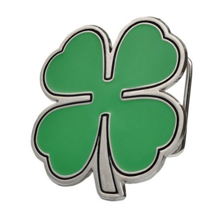 Buckle Rage Unisex Shamrock Four Leaf Clover Irish Belt Buckle Green Silver
