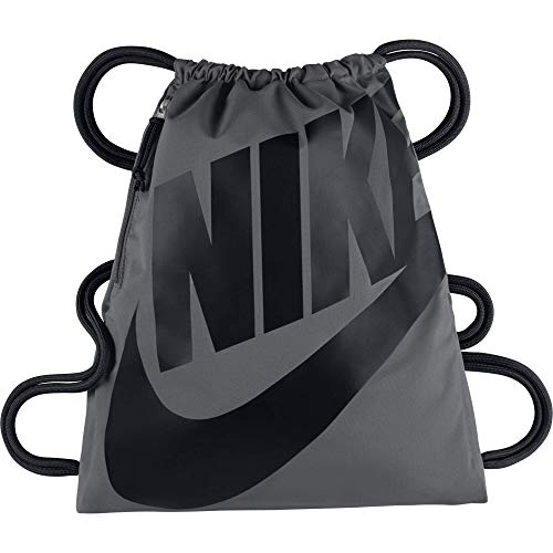 Nike Heritage Gymsack, Drawstring Backpack and Gym Bag with cinch sack closure and straps for comfort, Dark Grey/Black/Black