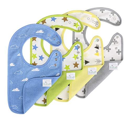 KāLaÿ 3-Layers Waterproof Baby Bib, Reversible, 3-Adjustable Snaps, Large, 4 Packs (Pattern)