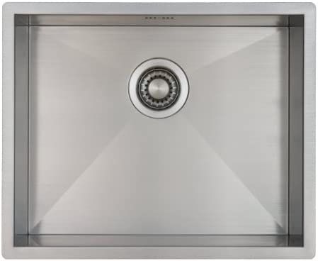 Kitchen Sink Mizzo Design 50 cm - One/Single Bowl Square Stainless Steel Kitchen Sink- for Both undermount and flushmount Installation - Satin Finish (50 cm)