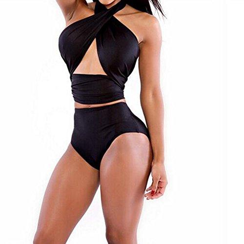 Women's 2 Pcs Cross Push Up Halter Bikini High-Waist Swimsuit Swimwear (Black)