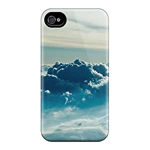 Awesome PXu9lQRR Wade-cases Defender Tpu Hard Case Cover For Iphone 4/4s- Blue Clouds