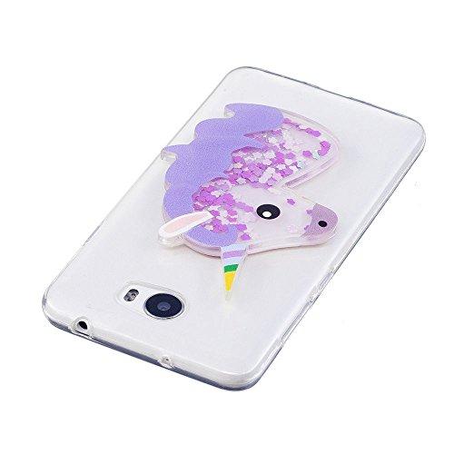 Funda Huawei Y5 II Caso Carcasa 3D Diseño Alivio Unicornio Patrón Fluyendo Líquido Flotando Bling Glitter Sparkle Estrella Arena Movediza Cover Suave Crystal Claro Flexible Transparente TPU Silicona G Morado