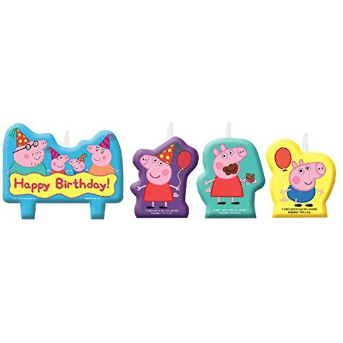 Amscan Peppa Pig Birthday Party Molded Candle Cake Set Decoration, Multicolor,