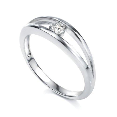 Tous mes bijoux - BADO01022 - Bague Solitaire Femme - Platine 3.35 gr - Diamant 0.1 cts