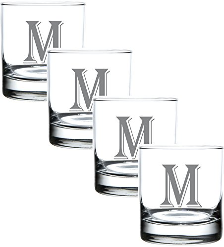 (M-Monogram)- 4 Piece Set of 11 Ounce Engraved Heavy Base Rocks Glasses Elegant Glass-Multi-Purpose Beverage-Rocks Glass- Perfect Gift for any Occasion- By: On The Rox