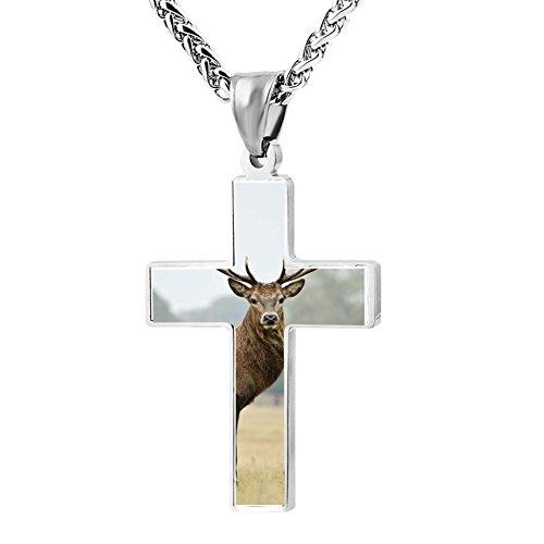 Gjghsj2 Cross Necklace Pendant Religious Jewelry Deer Art For Men Wome ()