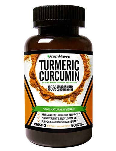 Turmeric Curcumin with BioPerine Black Pepper and 95% Curcuminoids – 1965mg Maximum Absorption for Joint Support & Anti-Inflammation, Organic Non-GMO Turmeric Capsules Made in USA – 90 Veg Caps