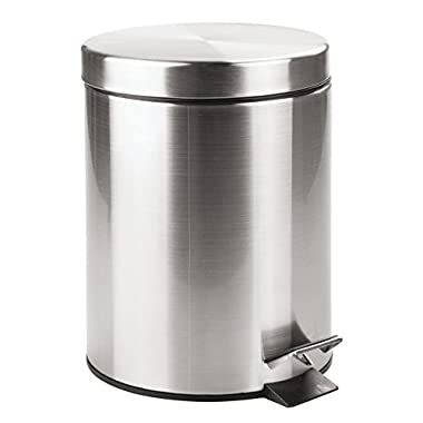 mDesign 5 Liter Round Small Steel Step Trash Can Wastebasket, Garbage Container Bin for Bathroom, Powder Room, Bedroom, Kitchen, Craft Room, Office - Removable Liner Bucket, Brushed Stainless Steel