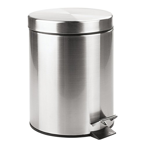 mDesign 5L Steel Wastebasket Trash Can with Bucket Insert for Bathroom, Kitchen, Office - Brushed Stainless (Wastebasket Round Steel)