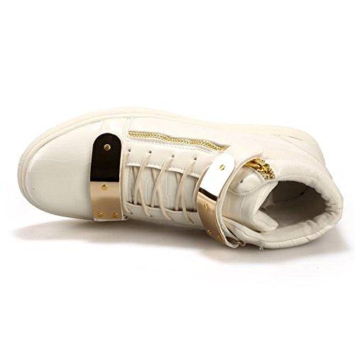 Cremallera talón Hombres del decoración de Azul los de Zapatos Moda la la de la talón de Plano del 8Haqx0Xw