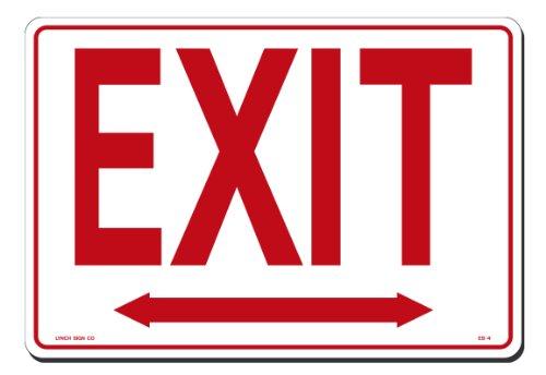[해외]린치 징후 14 인치 x 10 인치 흰색 화살표가있는 플라스틱 출구에서 빨간색 화살표/Lynch Signs 14 in. x 10 in. Sign Red on White Plastic Exit with Double Arrow