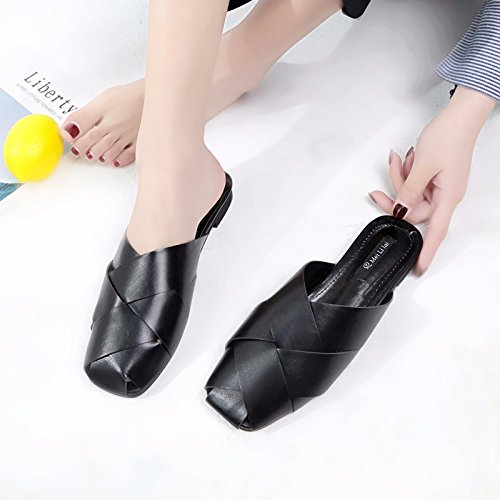 mezza pantofole di scarpe Baotou donna moda raffreddare pantofole minimalista XIAOGEGE antiscivolo esposti Fondo piatto Nero estate 6wIxHX0