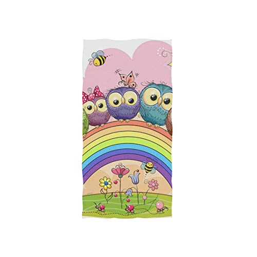 Mu Bamboo Dish Towel - SLHFPX Unicorn Owl Rainbow Hand Towels Ultra Soft Luxury Cotton Face Towel Washcloths for Home Kitchen Bathroom Spa Gym Swim Hotel Use