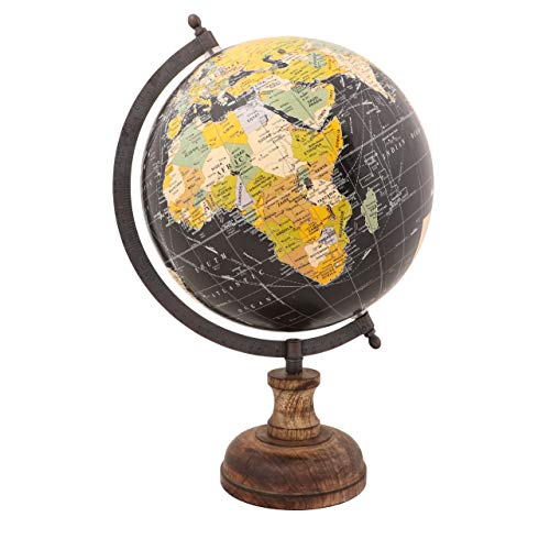 Balliatic Educational Geography Antique Globe with Wooden Base Educational Toys for Kids & Adults / Office Decor / Indoor Decorations and Perfect Gift (Antique Black (8 inch))