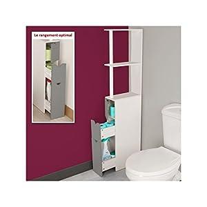idmarket meuble wc tag re bois blanc et gris gain de place pour toilettes 3 portes pratique. Black Bedroom Furniture Sets. Home Design Ideas