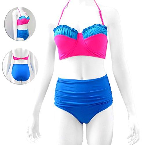 Vintage-Inspired Retro Pinup Girl Style High Waist Bikini Swimwear Set (XX-Large, Hot Pink & Sky Blue Ruffled Bandeau Top & Sky Blue Ruched High Waist Bottom)