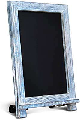 Amazon Com Hbcy Creations Rustic Blue Wood Tabletop Chalkboard With Legs Vintage Wedding Table Sign Small Kitchen Countertop Memo Board Antique Wooden Frame 9 5 X 14 Inches Rustic Blue Office Products