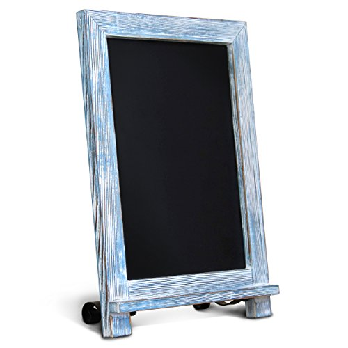 HBCY Creations Rustic Blue Wood Tabletop Chalkboard with Legs/Vintage Wedding Table Sign/Small Kitchen Countertop Memo Board/Antique Wooden Frame (9.5