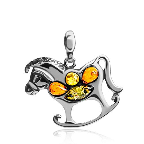Multicolor Amber Sterling Silver Rocking Horse Pendant ()