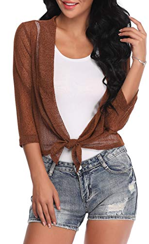 Aranmei Womens Sheer Shrug Cardigan Tie Front 3/4 Sleeve Bolero Jacket(Brown, Large) by Aranmei