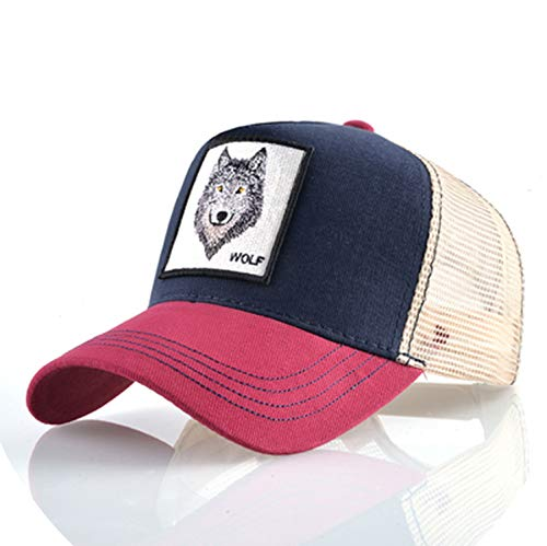 帽子 男性 夏の通気性メッシュ野球帽 女性 刺繍ヒップホップ カセットボーイズ,Red1,56-60cm