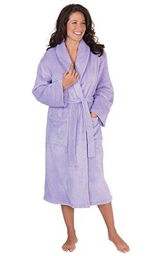 PajamaGram Marshmallow Microfleece Bathrobe, Lavender, XSM/SML (Robes Microterry)