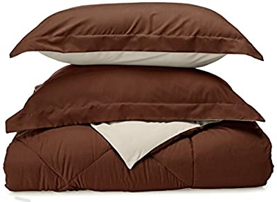 Sweet Home Collection 3 Piece Reversible Polyester Microfiber Goose Down Alternative Comforter Set with Pillow Shams