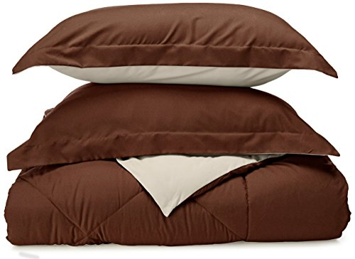 Sweet Home Collection 3 Piece Reversible Polyester Microfiber Goose Down Alternative Comforter Set with Pillow Shams, Full/Queen, Chocolate/Cream