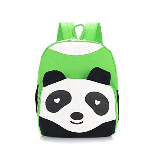 Niedlicher Panda Design Kind Rucksack Kinder Campus Studenten Canvas Tasche Schultasche Grün