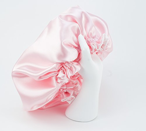 Pink & White Reversible Satin Hair Bonnet with Ajustable options in size Newborn to Adult 5X Large (Newborn - Toddlers) Pink Bonnet