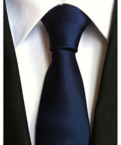 Men's Classic Navy Blue Stripe Tie Jacquard Woven Silk Tie Necktie + Gift Box - Grid Microfiber Tie