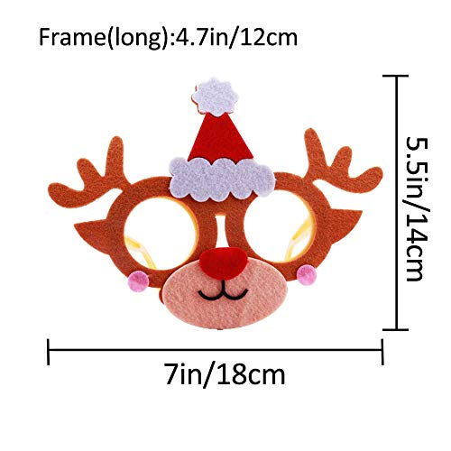 Christmas Costume Party Fancy Eyeglasses Frames 6 Pack DIY Felt Dress-up Craft Kits Xmas Photo Booth Props for Kids Xmas New Years Holiday Party Favor Gifts