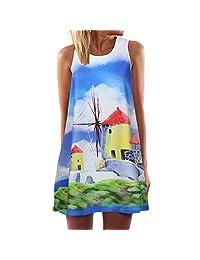 Cardigo Womens Vintage Summer Sleeveless Beach Printed Short Boho Mini Dress