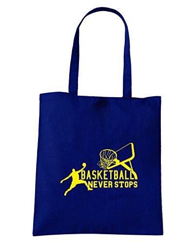 T-Shirtshock - Bolsa para la compra T0238 basketball never stops sport Azul Marino